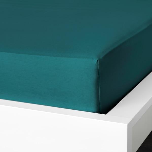 NATTJASMIN Gumis lepedő, sötétzöld, 90x200 cm