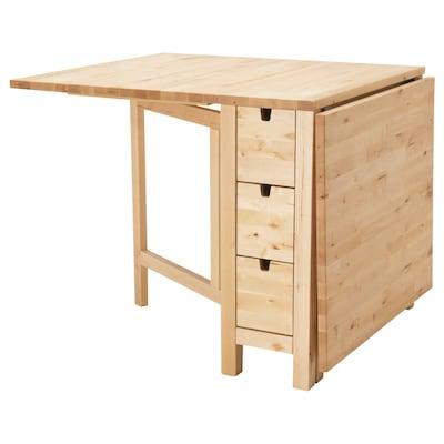 NORDEN Lehajtható lapú asztal, nyír, 26/89/152x80 cm