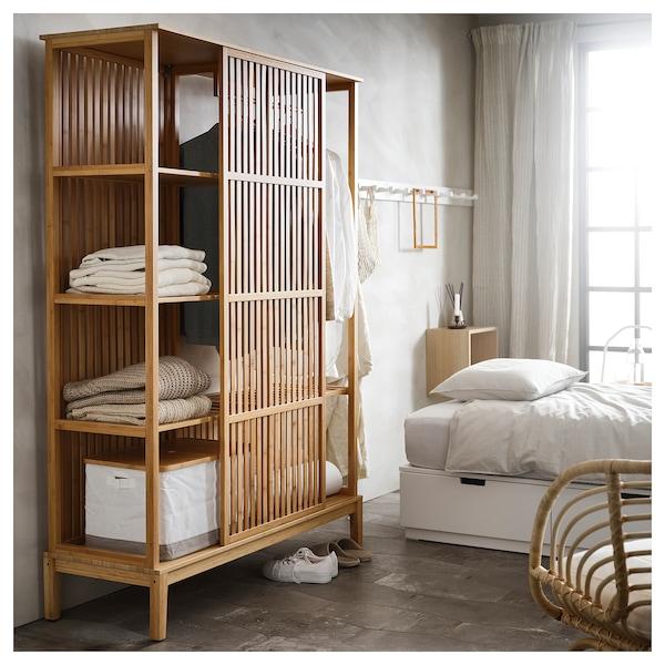 NORDKISA Nyitott gardróbszekrény tolóajtóval, bambusz, 120x186 cm