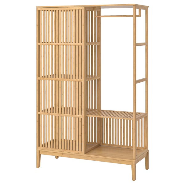 NORDKISA nyitott gardróbszekrény tolóajtóval bambusz 120 cm 47 cm 186 cm