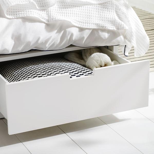 NORDLI Ágykeret tárolóval, fehér, 160x200 cm