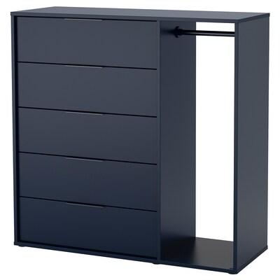 NORDMELA Fiókos szekrény ruhasínnel, fekete-kék, 119x118 cm