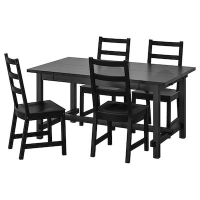 NORDVIKEN / NORDVIKEN Asztal és 4 szék, fekete/fekete, 152/223x95 cm