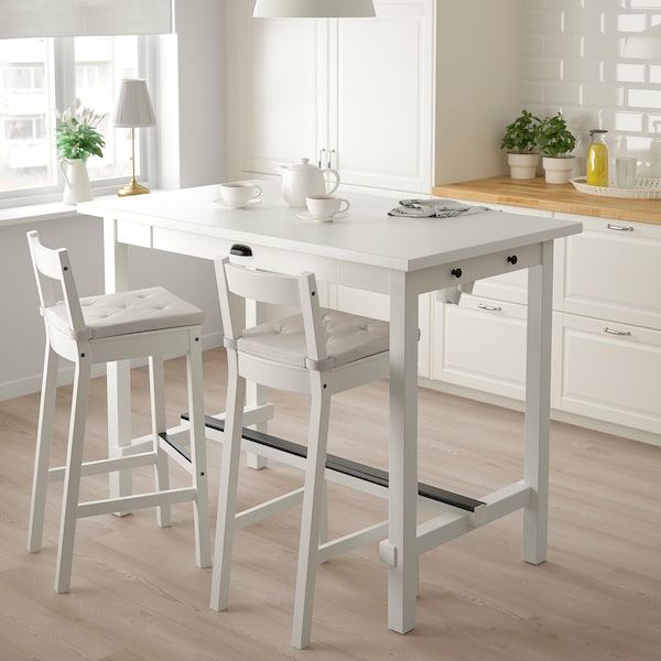 NORDVIKEN Bárasztal, fehér, 140x80x105 cm
