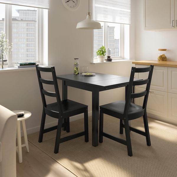 NORDVIKEN Lehajtható lapú asztal, fekete, 74/104x74 cm