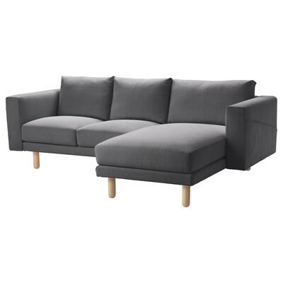 NORSBORG 3 személyes kanapé, fekvőfotellel/Finnsta sötétszürke/nyír