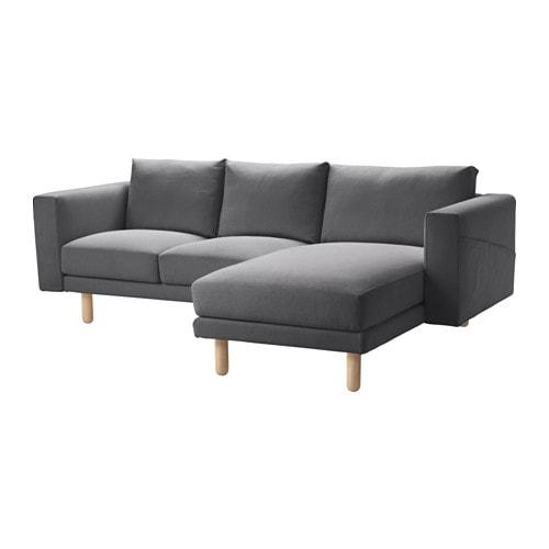 NORSBORG 3 személyes kanapé, fekvőfotellel Finnsta, nyír Finnsta sötétszürke/nyír