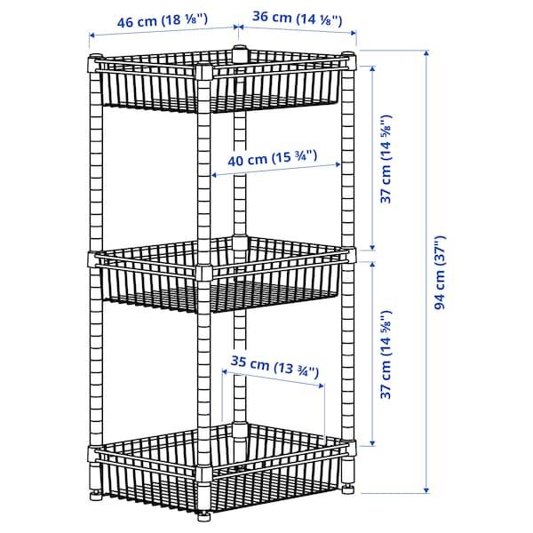 OMAR Polcos elem 3 kosárral, galvanizált, 46x36x94 cm