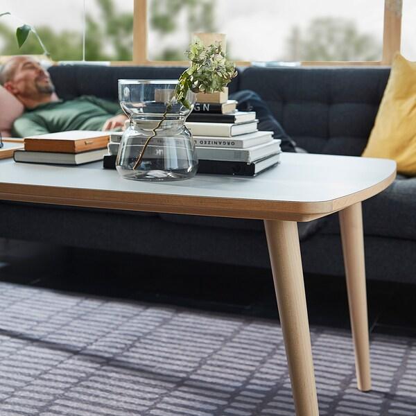 OMTÄNKSAM Dohányzóasztal, antracit/nyír, 115x60 cm
