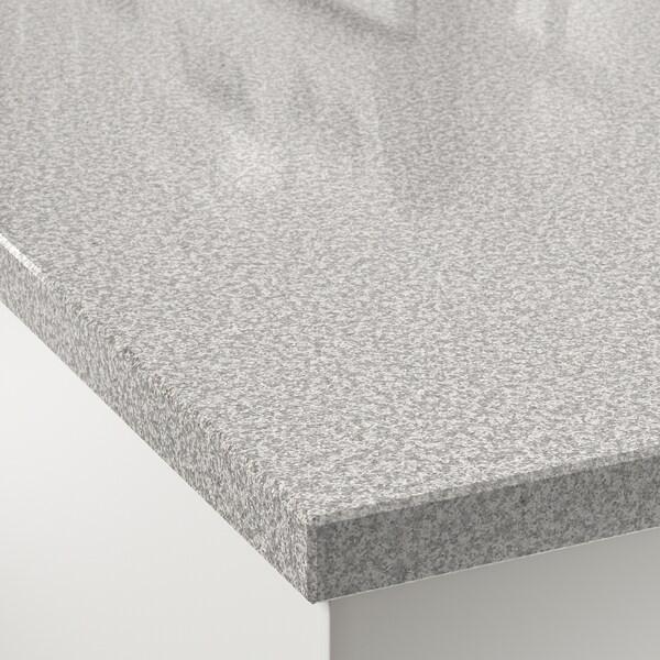OXSTEN Rendelésre készült munkalap, világosszürke kő hat./kvarc, 30-45x3.8 cm