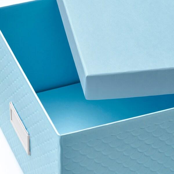 PALLRA tárolódoboz+tető világoskék 25 cm 35 cm 15 cm