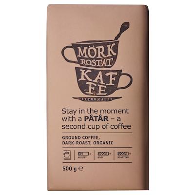 PÅTÅR filteres kávé sötét pörkölésű bio/UTZ minősített 100% Arabica kávébab 500 gr