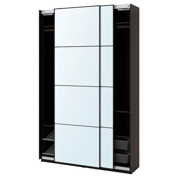 PAX / AULI Gardrób komb, fekete-barna/tüküv, 150x44x236 cm
