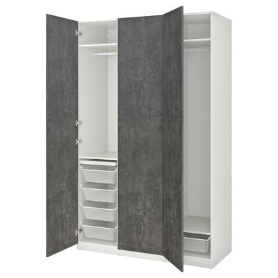 PAX / KALLVIKEN Gardrób komb, fehér/sszürke beton hatású, 150x60x236 cm