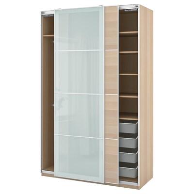 PAX / MEHAMN/SEKKEN gardrób komb fehérre pácolt tölgy hatás/opál üveg 150.0 cm 66.0 cm 236.4 cm