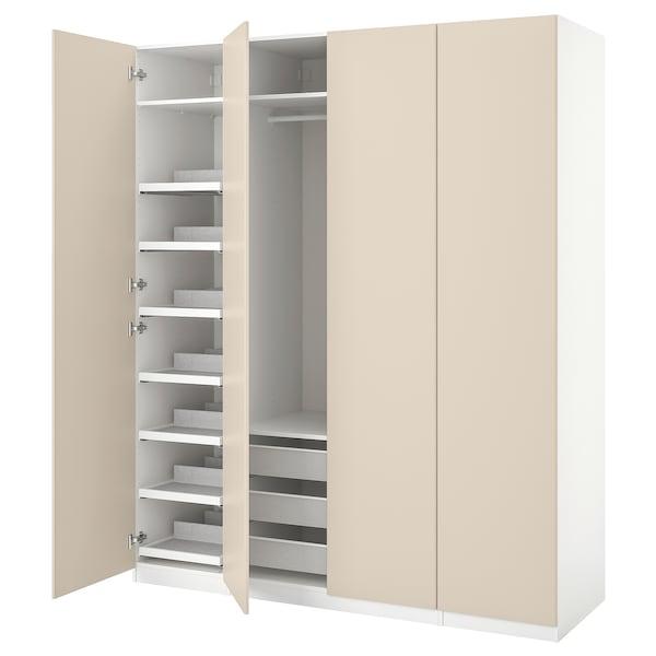 PAX / REINSVOLL Gardrób komb, fehér/szürke-bézs, 200x60x236 cm