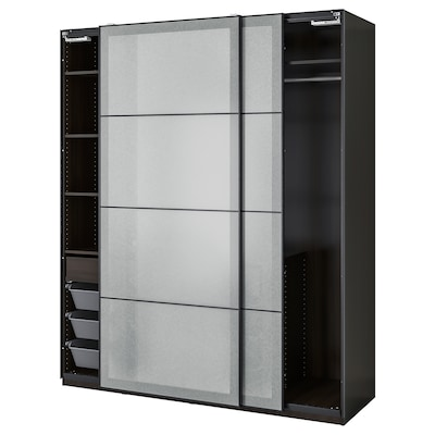 PAX / SVARTISDAL Gardrób komb, fekete-barna/fehér papír hatású, 200x66x236 cm