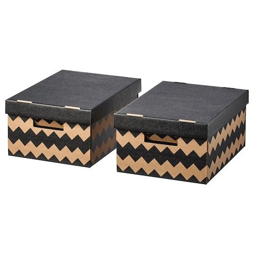 PINGLA doboz+tető fekete/natúr 28 cm 37 cm 18 cm 2 darabos