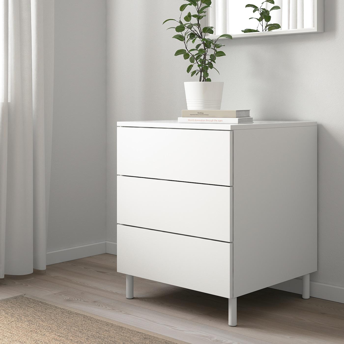 PLATSA 3-fiókos szekrény, fehér/Fonnes fehér, 60x57x73 cm