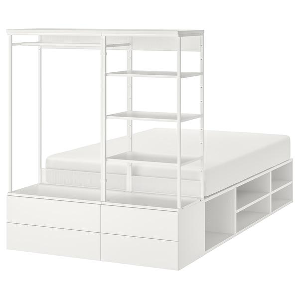 PLATSA Ágykeret 4 fiókkal, fehér/Fonnes, 140x244x163 cm