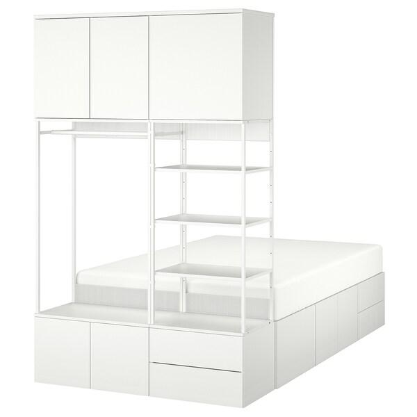PLATSA Ágykeret 8 ajtóval és 4 fiókkal, fehér/Fonnes, 142x244x223 cm