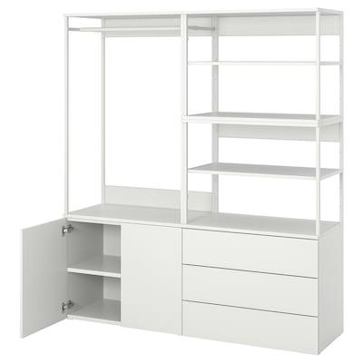 PLATSA Gardróbsz. 2 ajtó+3 fiók, fehér/Fonnes fehér, 160x42x181 cm