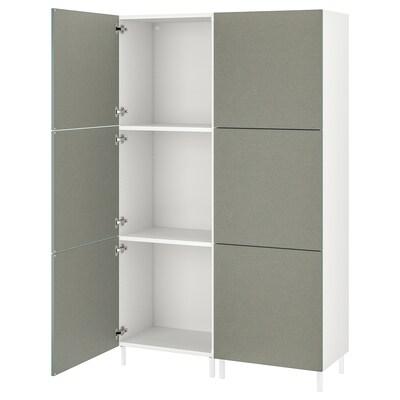 PLATSA Gardróbszekrény 6 ajtóval, fehér/Klubbukt szürke-zöld, 120x42x191 cm