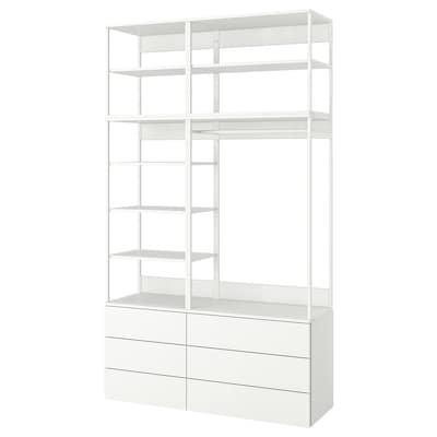 PLATSA Gardróbszekrény 6 fiókkal, fehér/Fonnes fehér, 140x42x241 cm