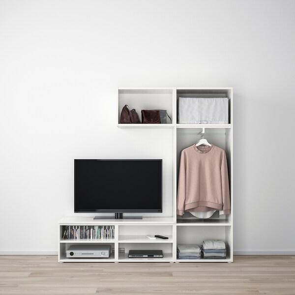 PLATSA TV-állvány/tároló+2 ajtó, fehér/Fonnes Värd, 180x42x191 cm