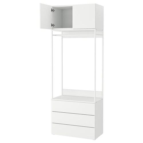 PLATSA gardróbsz. 2 ajtó+3 fiók fehér/Fonnes fehér 80 cm 42 cm 221 cm