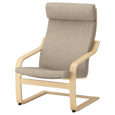 POÄNG fotel nyír furnér/Hillared bézs 68 cm 82 cm 100 cm 56 cm 50 cm 42 cm