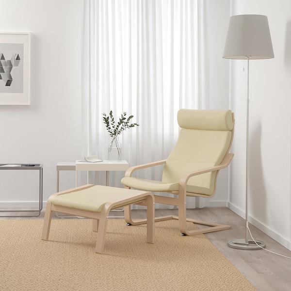 POÄNG Fotel, fehérre pácolt tölgy furnér/Glose tojáshéj