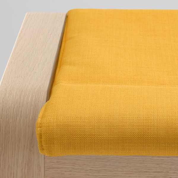 POÄNG Lábtartó, fehérre pácolt tölgy furnér/Skiftebo sárga
