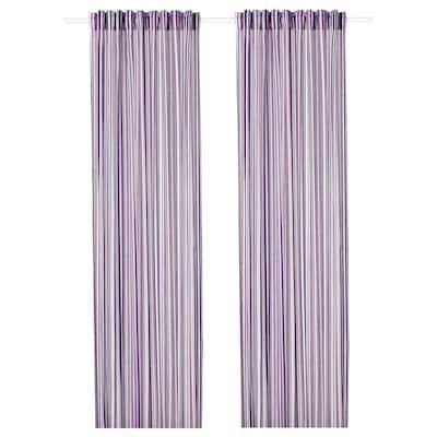 PRAKTKLOCKA függönypár lila/csíkos 300 cm 145 cm 1.03 kg 4.35 m² 2 darabos