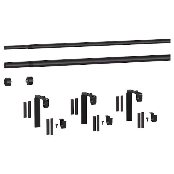 RÄCKA / HUGAD Dupla függönyrúd kombináció, fekete, 210-385 cm