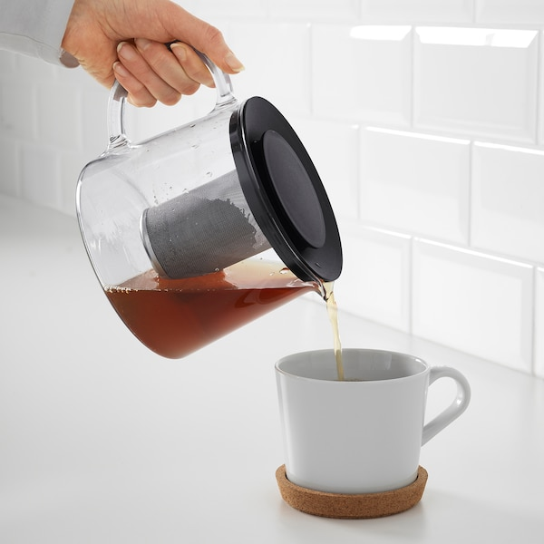 RIKLIG teáskanna üveg 13 cm 1.5 l