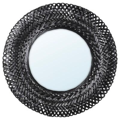 RISBYGD Tükör, bambusz/fekete, 50 cm