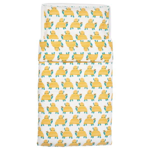 RÖRANDE Ágyneműhuzat-garn. rácsos ágyba, teknős sárga, 110x125/35x55 cm