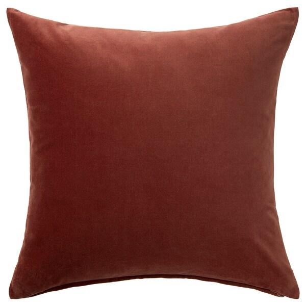 SANELA Díszpárnahuzat, piros/barna, 50x50 cm
