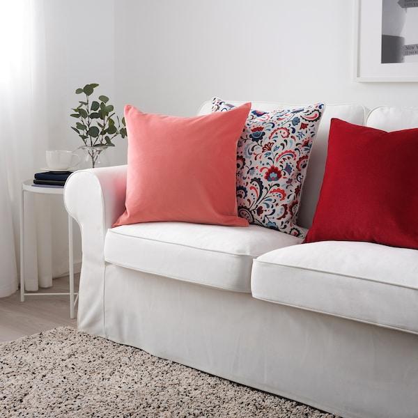 SANELA Díszpárnahuzat, világosbarna-piros, 50x50 cm