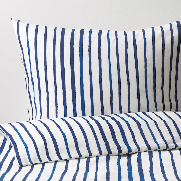 SÅNGLÄRKA ágyneműhuzat-garnitúra csíkos/kék fehér 200 cm 150 cm 50 cm 60 cm