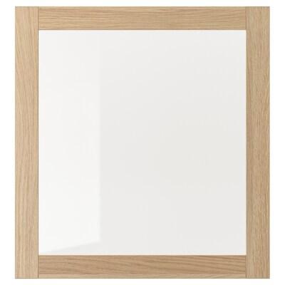 SINDVIK Üvegajtó, fehérre pácolt tölgy hatás/átlátszó üveg, 60x64 cm