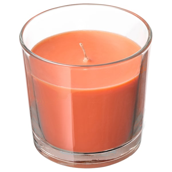 SINNLIG Illatosított gyertya üvegben, Őszibarack és narancs/narancssárga, 9 cm