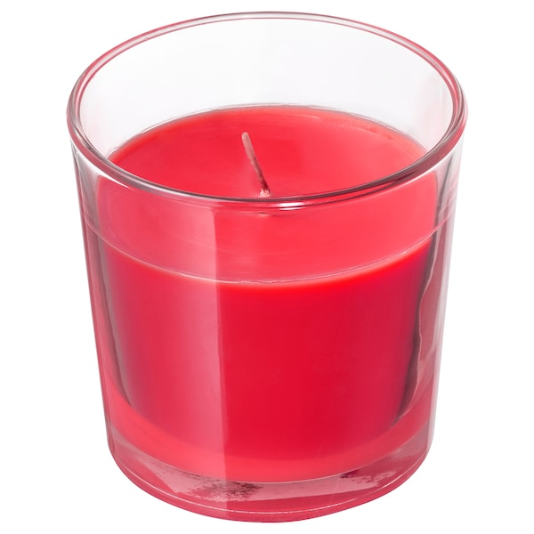 SINNLIG illatosított gyertya üvegben piros bogyósgyümölcsök/piros 7.5 cm 25 óra
