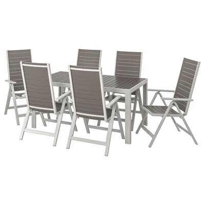 SJÄLLAND asztal+6 áll szék, kültéri sszürke/világosszürke 156 cm 90 cm 73 cm