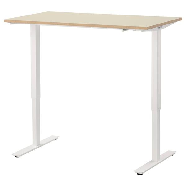 SKARSTA Asztal ülő-/állómunkához, bézs/fehér, 120x70 cm