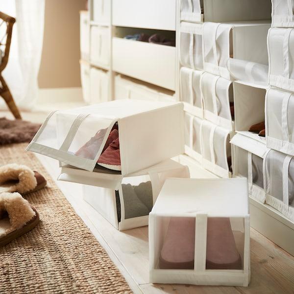 SKUBB cipőtartó doboz fehér 22 cm 34 cm 16 cm 4 darabos