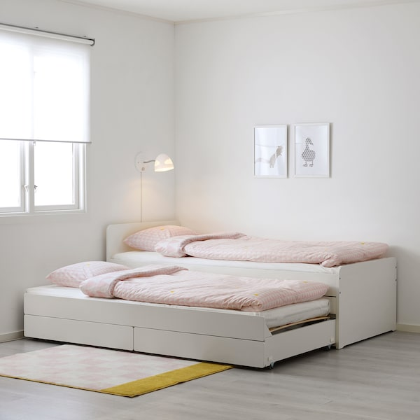 SLÄKT Ágykeret alsóággyal és tárolóval, fehér, 90x200 cm