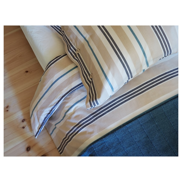SMALSTÄKRA Ágyneműhuzat-garnitúra, bézs/kék/csíkos, 200x200/50x60 cm