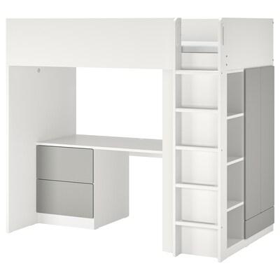 SMÅSTAD Galériaágy, fehér szürke/asztallal 3 fiókkal, 90x200 cm